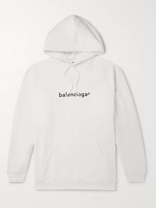 Balenciaga Oversized Logo-Print Loopback Cotton-Jersey Hoodie