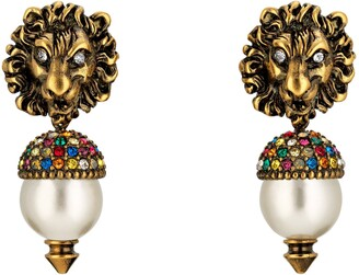 Gucci Lion head earrings with pearl