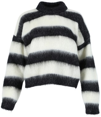 Saint Laurent Black And White Turtleneck Pullover Sweater