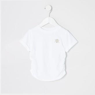 River Island Mini girls ruched side White T-shirt