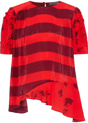 Preen Line Dakota Asymmetric Paneled Printed Satin-crepe T-shirt