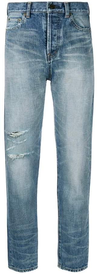 Saint Laurent high-waist distressed jeans