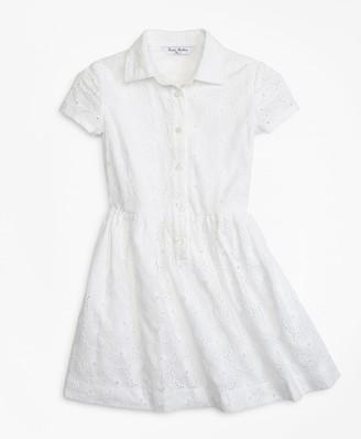 Brooks Brothers Girls Cotton Eyelet Shirred Dress