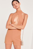 Missguided Ribbed Split Front Playsuit Camel