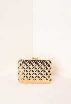 Missguided Quilted Metal Clutch Bag Gold