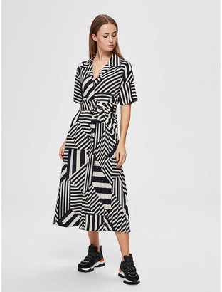 Selected Bold Pattern Belted Shirt Dress - 34