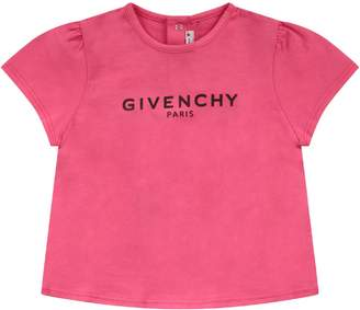 Givenchy Fucshia Babygirl T-shirt With Black Logo