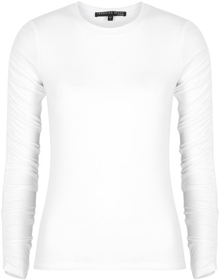 Veronica Beard Clement White Ruched Jersey Top