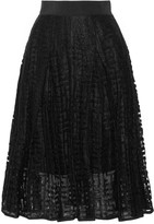 Milly Pleated embroidered tulle skirt