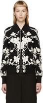 Alexander McQueen Black & Ivory Floral Bomber Jacket