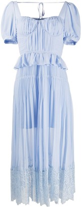 Self-Portrait Self Portrait ruffle-trimmed pleated dress