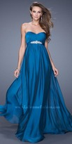 La Femme Strapless Jeweled Waistband Prom Dress