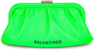 Balenciaga XS Cloud Strap Clutch in Fluo Green | FWRD
