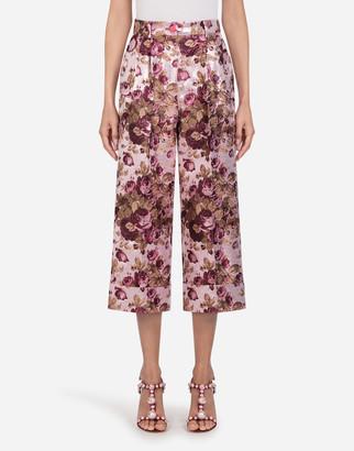Dolce & Gabbana Floral Lurex Jacquard Wide Leg Pants