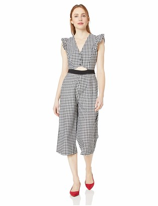 BCBGeneration Women's Gingham Cropped Culotte Jumpsuit