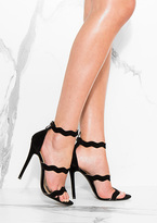 Missy Empire Lateshya Black Strap Detail Stiletto Heels