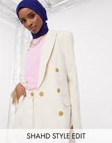 ASOS DESIGN button suit blazer in ecru