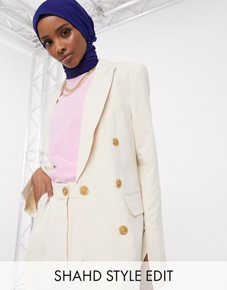 Asos DESIGN button suit blazer in ecru