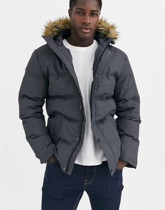 Threadbare quilted parka with faux fur hood in gray