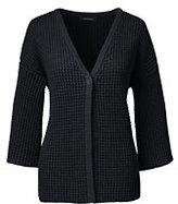 Lands' End Women's Petite 3/4 Lofty V-neck Cardigan Sweater-Deep Pine