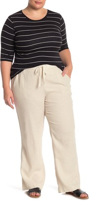 Caslon Drawstring Waist Linen Blend Pants (Plus Size)