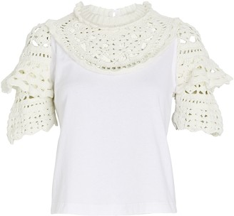 Sea Cleo Crochet-Trimmed Top