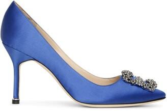 Manolo Blahnik Hangisi 90 royal blue satin pumps