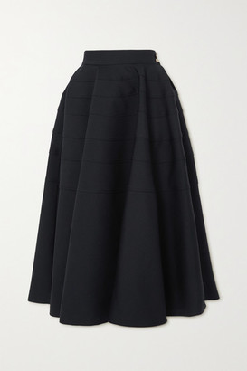 Loewe Pleated Wool-twill Midi Skirt - Black