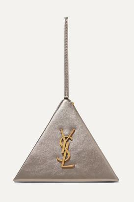 Saint Laurent Pyramid Metallic Leather Clutch - Gold