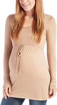 Mocha Tie-Waist Maternity Babydoll Top