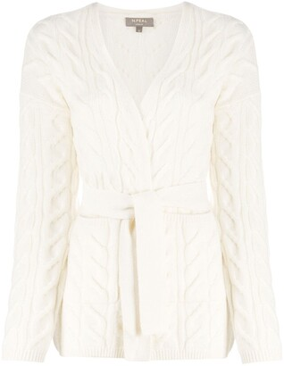 N.Peal Tie-Waist Cable Knit Cardigan
