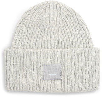 Acne Studios Pansy Face Patch Rib Wool Beanie