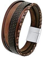S'Oliver Mens Stainless Steel Bracelet Multi Layer Leather 21 cm – 566551