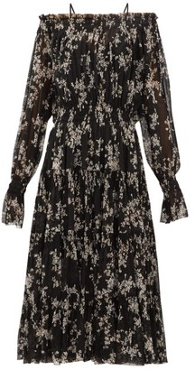 Norma Kamali Floral-print Tiered Off-the-shoulder Midi Dress - Womens - Black Print