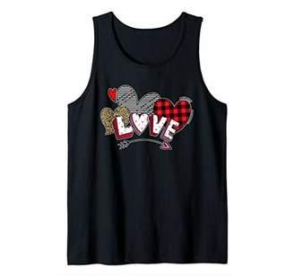 Valentines Day Shirts Women Hearts Love Leopard Plaid Retro Tank Top