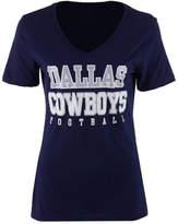 Authentic Nfl Apparel Women's Dallas Cowboys Practice Glitter T-Shirt