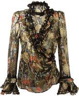 Roberto Cavalli embellished wrap blouse