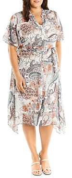 Estelle Plus Living Printed Fit-and-Flare Shirt Dress