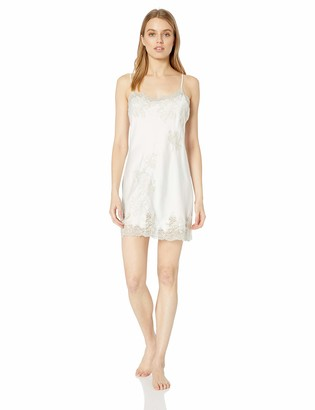 Natori Women's Solid Satin Chemise with Lace