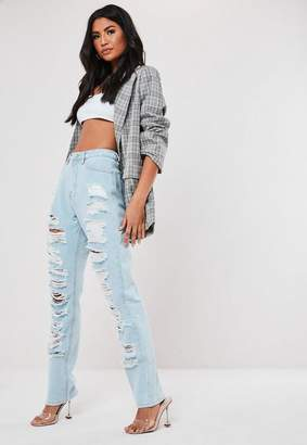 Missguided Wrath Blue Light Wash High Waisted Super Distressed Jeans