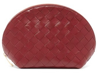 Bottega Veneta Intrecciato Leather Make-up Bag - Womens - Burgundy