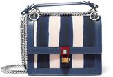 Fendi Kan I Mini Leather-trimmed Striped Canvas Shoulder Bag - Navy