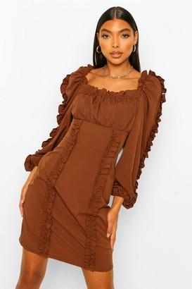 boohoo Tall Ruffle Long Sleeve Woven Bodycon Dress