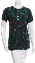 Lanvin Silk-Trimmed Embellished Top w/ Tags