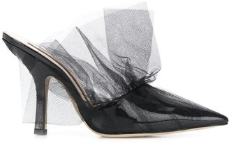 Midnight 00 Tulle-Trimmed Mules