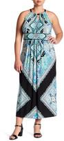 Sandra Darren Halter Neck Jersey Pattern Maxi Dress (Plus Size)