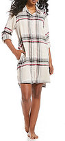 Donna Karan Plaid-Print Short Flannel Sleepshirt
