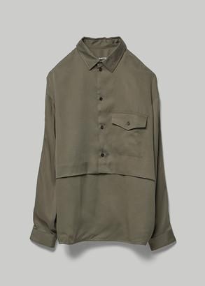 Goetze Men's Geory Double Layered Bib Shirt in Olive Tencel Size 46