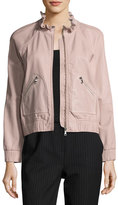 Rebecca Taylor Lamb Leather Zip-Front Bomber Jacket