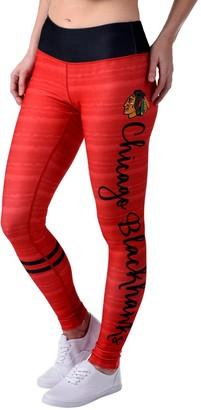 Women's Red Chicago Blackhawks Script Print Leggings